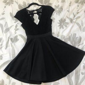 Black lace homecoming dress